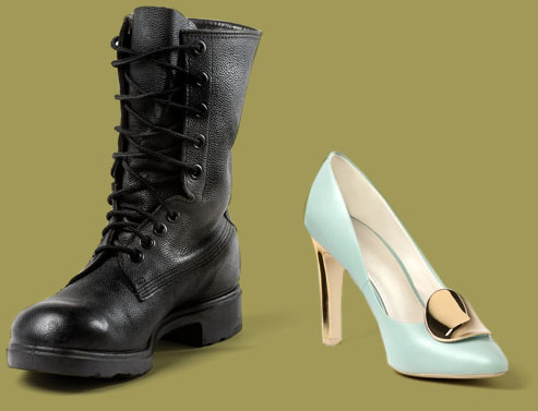 A combat boot sitting beside a dress shoe